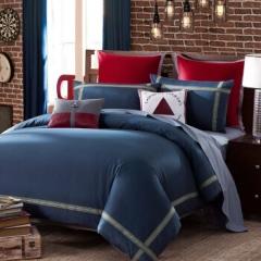 LOVO罗莱家纺 床品套件全棉四件套 理想慢生活 深蓝色 1.5m床200*230cm 床单被罩枕套BC.054
