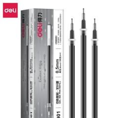 得力(deli)0.5mm半针管黑色中性笔笔芯 水笔签字笔替芯 20支/盒6901    XH.674