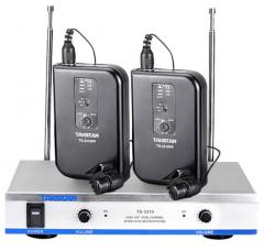 得胜(TAKSTAR) TS-3310PP 无线话筒麦克风 一拖二双领夹话筒 会议演出教学专用 典雅黑   IT.558