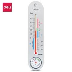 得力(deli)经典挂壁式温度计 9013 个性化提示温湿度计 JC.787
