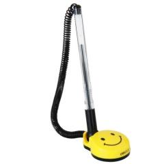 得力(deli)0.5mm黑色微笑办公桌面台笔 6793可粘贴台式中性笔单支XH.686