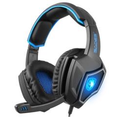赛德斯(Sades)狼灵 头戴式7.1声道语音耳机(黑蓝)头戴式有线usb台式电脑耳麦    PJ.405