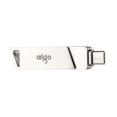 爱国者(aigo)64GB Type-C USB3.0 手机U盘 U350 银色 双接口手机电脑用    PJ.406