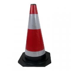 谋福 8409 橡胶反光路锥 路障锥 雪糕筒桶 交通锥桶 (60cm红白橡胶反光路锥) JC.800