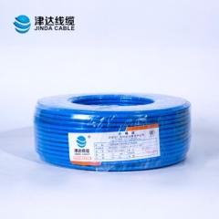 津达电线国标铜芯电线BV4平方线单芯 单股硬线国标100米 (4平方蓝色)  JC.380