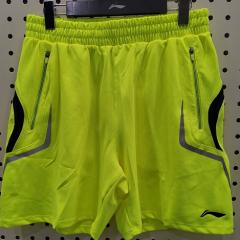 李宁羽毛球裤 男款 荧光亮绿运动短裤AAPJ271-3   L/XL   (号码备注) TY.1246