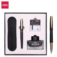 得力(deli)卓然系列金属钢笔套装 F尖钢笔+墨水+笔袋+6支墨囊   XH.692