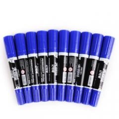 得力(deli)S555 大号双头记号笔防水物流大头笔粗头勾线笔蓝色   10支/盒   XH.693
