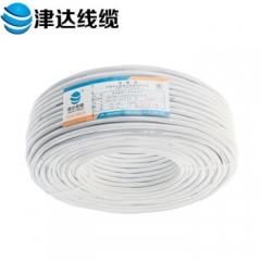 津达线缆 电线电缆 国标铜芯护套线 扁护套线  带屏蔽RVV2*1.5 100米/盘  白色  JC.825