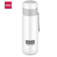 得力(deli) 6147 500ml真空不锈钢保温杯杯盖两用按钮弹盖式杯子白色 CF.074