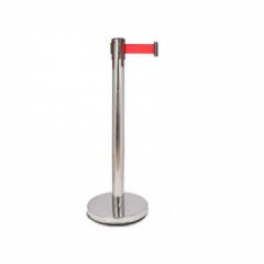 谋福 8249 一米线围栏栏杆座 礼仪柱护栏杆 隔离带安全线 银行伸缩栏杆警戒线(不锈钢款 约2米长) JC.848