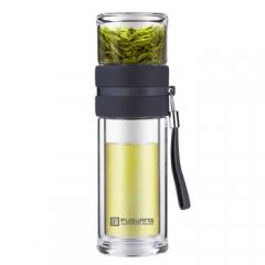 富光 泡茶师系列玻璃杯 双层透明 茶水分离杯 带滤网商务办公男士泡茶杯子 灰色 240ML CF.077