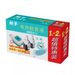 枪手 电热蚊香液套装 无导线 无味 1器+2瓶 无香型    QJ.241