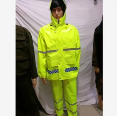 交警雨衣雨裤套装 交通执勤雨衣 骑行 环卫反光衣 劳保 防汛分体 荧光绿 JC.881