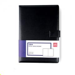 得力7941皮面笔记本 120页16K记事本 黑色  XH.721