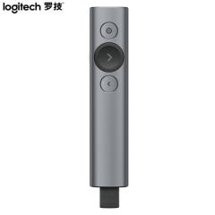 罗技(Logitech)Spotlight 无线演示器 投影笔 翻页笔 非激光笔 演讲神器 放大聚焦液晶屏可显(灰色) IT.763