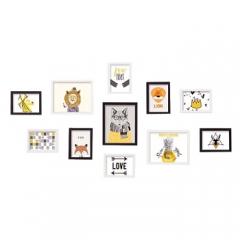 晨色 照片墙 仿实木大11框 动物森林 黑白组合挂墙装饰画 卧室客厅玄关墙壁软饰画相框 带画芯 CS2026      BG.330