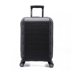 百年瑞士SWIZA 拉杆箱 行李箱登机男女22英寸大容量 PP材质万向轮静音密码锁旅行箱 黑色 HBX218109057     TY.1272