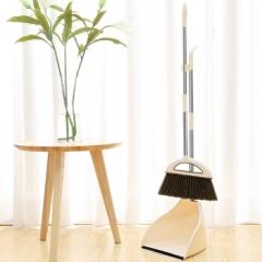 家杰 家用扫地扫水笤帚 大号不锈钢扫把簸箕套装 软毛 地板清洁工具(乳白色) JJ-202   QJ.284