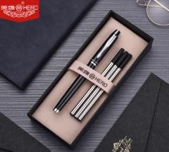 英雄7006黑色签字笔商务高档男女士办公用  亮黑银夹(简单礼盒)BG.342