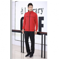 运动套装男女款休闲套装运动长裤两件套红黑色  XL码   TY.1254