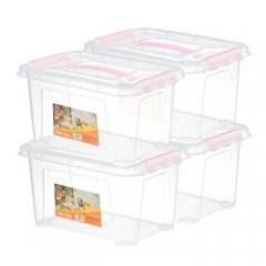 JEKO&JEKO 塑料桌面小号透明收纳箱8L 4只装整理箱手提式储物箱 SWB-501   QJ.292