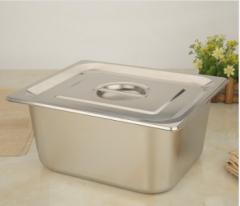 加厚不锈钢份数盆 1/1*15 长方形份数盆带盖菜盒分餐盆 CF.107