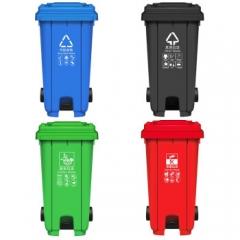 120升户外垃圾桶翻盖室外果皮箱塑料环保分类垃圾桶 带脚踏、带轮 颜色随机    QJ.306