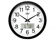 康巴丝(COMPAS)挂钟15英寸静音万年历钟表现代石英钟时尚日历时钟创意挂表3128Y黑白   DQ.1397