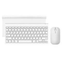 航世(B.O.W)HW086D 金属无线充电键盘鼠标套装 超薄便携办公键鼠套装 白色    PJ.569
