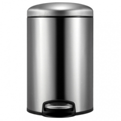 EKO垃圾桶脚踩开盖垃圾桶厨房客厅卫生间带盖家用大号垃圾干湿分类垃圾桶 9113MT(砂钢)12L    QJ.334