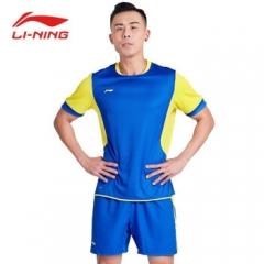 李宁男士足球套装足球训练服比赛服   晶蓝色   XL   TY.1315