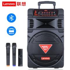 联想(Lenovo)V07 12英寸户外拉杆音箱 蓝牙便携 舞台会议教学扩音器 双无线话筒+遥控器 黑色  IT.988