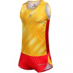 KELME卡尔美田径服套装马拉松跑步比赛服3871010 黄色/红色 L       TY.1319