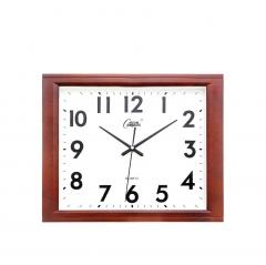 康巴丝(Compas)挂钟16英寸创意静音客厅钟表方形简约时钟电子石英钟C25241仿木液晶款   DQ.1440