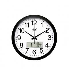 康巴丝(Compas)挂钟 15英寸静音现代石英钟日历时钟创意挂表3128Y 黑白日历款  DQ.1441
