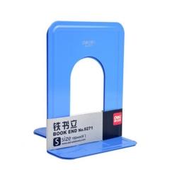 得力(deli) 9271书立 6英寸(高15cm)金属铁书立架 办公书靠 办公用品 蓝色 2片/付    XH.734