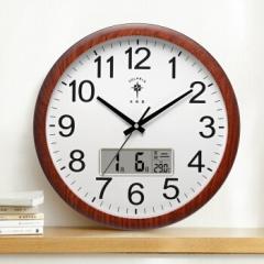 北极星(POLARIS)挂钟15英寸静音客厅万年历钟表现代石英钟时尚日历时钟创意挂表2811 木纹日历款     DQ.1535