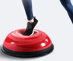 奥义波速球 加厚防爆瑜伽球 半圆平衡球健身球康复训练按摩半球(赠充气筒拉力绳) 脂红     TY.1153