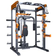 安全举重床卧推架框式龙门深蹲架杠铃架商用多功能健身器材综合训练器械 9900史密斯架 配100KG包胶杠铃片    TY.1171