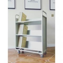 图书馆三层书车静音轮小推车钢制平板手推  三层v型书车  JC.1055