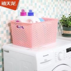 禧天龙塑料收纳篮中号X-6125中粉色(13L)     QJ.391