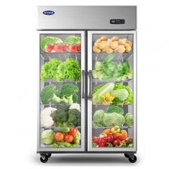 银都866升展示柜商用双门厨房冰箱冷藏立式冰柜玻璃门保鲜柜饮料柜 大二门陈列柜(JBL0623)DQ.1630