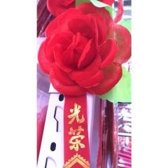 光荣胸花 模范标兵学生表彰小红花 绸缎大红15cm  JC.1495