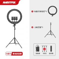 志捷  手机直播补光灯 桌面支架LED打光柔光照明设备 18英寸/45cm+2米灯架(三机位)   ZX.436