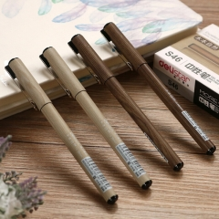 得力S46中性笔 0.38mm签字笔 水笔针管笔黑色 12只/盒BG.549