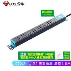 公牛(BULL)16A大功率防雷PDU机柜插座/插线板/插排/排插/接线板/拖线板 8位总控全长1.8米 GNE-108DT JC.1582