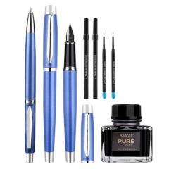 宝克(BAOKE)T10 钢笔+宝珠笔+圆珠笔+替芯+墨水 商务蓝笔杆 商务办公搭配套装3支/盒 BG.571