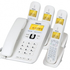 飞利浦 DCTG182 中文菜单双免提数字子母机一拖四 办公会议坐固话无线电话机 白色 IT.1388