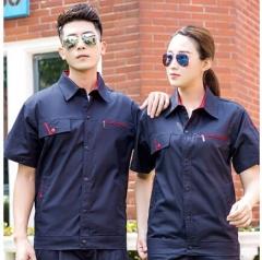 安富利 纯棉夏季工作服套装 耐磨电焊工厂服夏季薄款透气劳保服 短袖藏蓝红套装 JC.1612